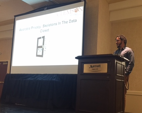 "photo of Byron Lowens presenting his paper, ""Wearable Privacy: Skeletons in the Data Closet"" at ICHI 2017"